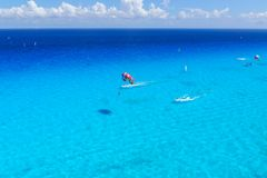 Watersports activity top view at caribbean ocean Stock Photos