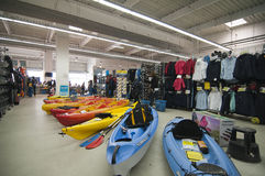 Watersports area in Decathlon store Royalty Free Stock Photo