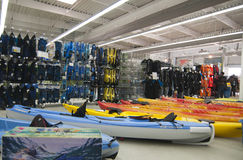 Watersports area in Decathlon store Royalty Free Stock Image