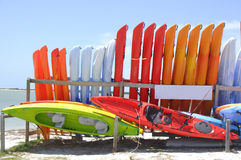 Watersports On The Gulf. This is a group of sea kayaks available for rent on the causeway in Dunedin, Florida Stock Photography