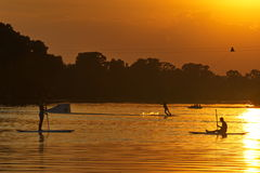 Watersportsathlets bij zonsondergang het wakeboarding en SUP Stock Afbeelding