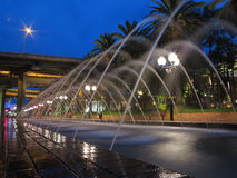 Waterspout fountains passage by night Stock Photo