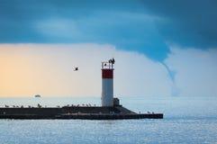 Waterspout na Jeziornym Erie Obraz Stock