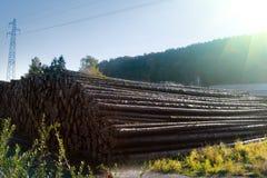 Waterstapel van logboeken stock afbeeldingen