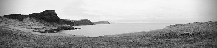 Waterstein Head  cliff and silent Moonen bay.  Panorama view from Neist Point Royalty Free Stock Photos