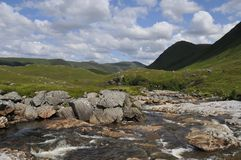Waterstream landscape Scotland. A waterstream tumbling over rocks in a typical scottisch landscape royalty free stock photo