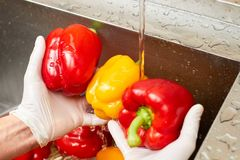 Waterstroom van kraan die op groene paprika's vallen royalty-vrije stock foto's