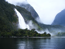 Watertfall at Milford Sound Royalty Free Stock Photography