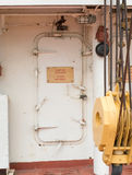 Watertight Ship Door. A ships door with it's water locks and marked out of bounds Stock Images