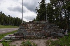 Waterton Glacier International Peace Park Sign stock images