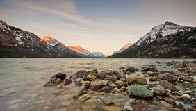 Waterton Lake Internation Peace Park. A look at the border in the international peace park bordering alberta and montana in Canada and the United States of Royalty Free Stock Image