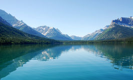 Waterton lake and mountain view royalty free stock photo