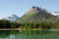 Waterton lake and mountains stock photo