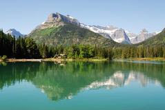 Waterton lake and mountains Stock Photos