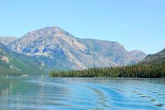 Waterton lake and mountains stock photos