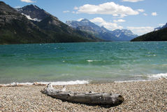 Waterton lake and mountains Stock Image