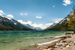 Waterton lake and mountains Royalty Free Stock Photography
