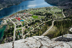 Waterton Lake and townsite aerial view Royalty Free Stock Image