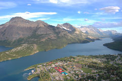 Waterton lake and village royalty free stock photography