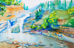 At Waterton Park. A waterfall in Waterton Park, Alberta, Canada. An original watercolor painting using negative space technique