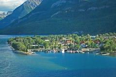 Waterton Town, Waterton, Alberta. View along waterfront at Waterton along Waterton Lake in Alberta Stock Image
