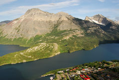 Waterton village and lake Stock Photos