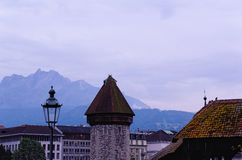 Watertoren in Luzerne (Zwitserland) Stock Afbeelding