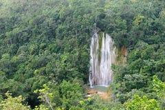 Waterval - aantrekkelijkheid in Samana-gebiedsdominicaanse republiek stock fotografie