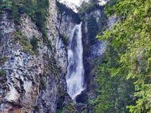 Waterval bij de Bracherbach-stroom in het Braunwald-bos royalty-vrije stock foto
