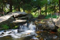 Waterval bij Japanse tuin Stock Foto