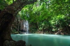 Waterval in bos bij Erawan-waterval Nationaal Park, Kanchanab Royalty-vrije Stock Afbeeldingen