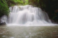 Waterval in bos bij zonsopgang royalty-vrije stock fotografie