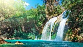 Waterval, Chiflon-Cascades, Chiapas, Mexico stock afbeelding