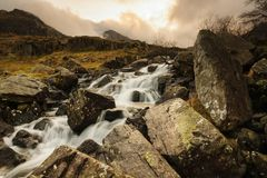 Waterval in Cwm Idwal Wales royalty-vrije stock afbeelding