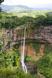 Waterval in de wildernis, Mauritius royalty-vrije stock foto