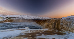 Waterval in de winter Stock Foto