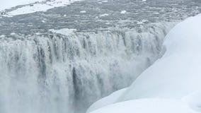 Waterval Dettifoss in wintertijd, IJsland stock videobeelden