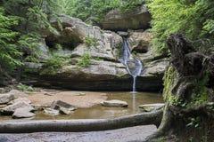 Waterval en hol, rots en bomen, stock fotografie