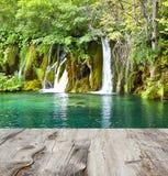 Waterval en houten pijler royalty-vrije stock fotografie
