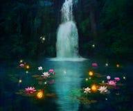 Waterval en lelies stock illustratie