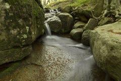 Waterval en rotsen in groen bos Royalty-vrije Stock Foto