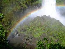 Waterval in equatoriaal regenwoud, met regenboog stock afbeeldingen