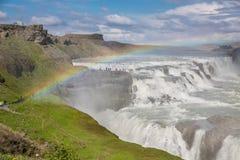 Waterval Gullfoss en regenboog, IJsland Stock Foto's