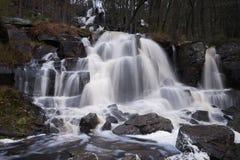 Waterval in het hoge bos 50 meter Ramhultafallet Seden stock fotografie