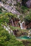 Waterval in het Nationale Park van Meren Plitvice Stock Foto