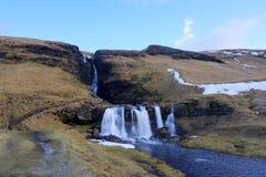 Waterval in IJsland Stock Foto