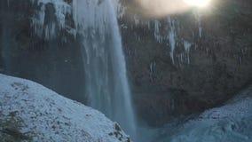 Waterval in IJsland clsoe omhoog stock footage