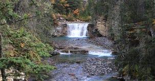 Waterval in Johnson Canyon, het Nationale Park van Banff, Canada 4K stock videobeelden