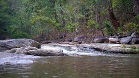 Waterval met rotsen en een groen bos op een achtergrond stock video