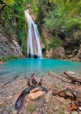 Waterval in Neda Rivier Messinia, Griekenland Stock Foto